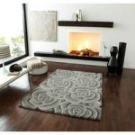 Venus Thick Carved 3D Floral Effect Light Grey Wool Rug – 90cm x 150cm
