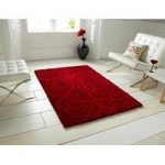 Venus Modern Carved Rich Red Rose Patterned Wool Rug – 90cm x 150cm