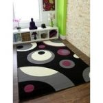 Florence Black Rugs and Grey Funky Retro Circles Rug 269 60 cm x 110