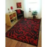 Florence Deep Red & Black Elegant Damask Design Rug 879 60 cm x 110 cm