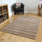 Brown Contemporary Striped Wool Rug – Toscana – 60 x 230cm (1ft 11 x