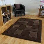Chocolate Brown Embossed Simple Modern Rug – Contempo 60×230 Runner