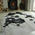White & Black Leather Cowhide Rug 220cm x 195cm