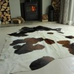 Red & White Leather Cowhide Rug 190cm x 173cm