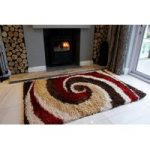 Red Rugs & Brown Swirls Shaggy Rug Helsinki L