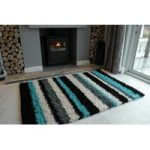 Teal Blue Stripe Shaggy Runner Rug Helsinki RR