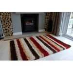 Red Stripe Shaggy Runner Rug Helsinki RR