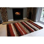 Terracotta & Orange Rugs Stripe Shaggy Rug Helsinki M