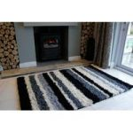 Black Rugs & Grey Stripe Shaggy Rug Helsinki M