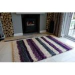 Purple & Black Rugs Stripe Shaggy Rug Helsinki L
