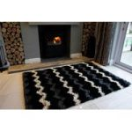Black Rugs & Grey Chevron Shaggy Runner Rug Helsinki RR
