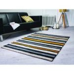 Black & Yellow Stripes Modern Rug Pasto 80X150