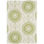 Suez Green Geometric Grey Cotton Rug