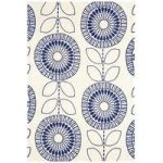 Suez Blue Floral Modern Cotton Rug