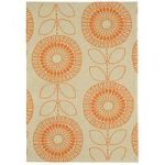 Suez Orange Modern Floral Cotton Rug