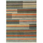 Baraki Grey, Blue & Orange Stripe Acrylic Rug