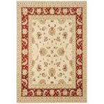 Whitby Beige & Red Border Wool Traditional Runner Rug