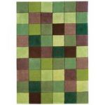 Torrance Green Squares Contemporary Acrylic Runner Rug