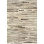 Saida Light Grey Leather Stripe Modern Rug