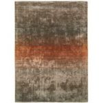 Santos Orange Viscose Modern Stripe Rug