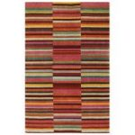 Sapporo Red, Multi Wool Modern Stripe Rug