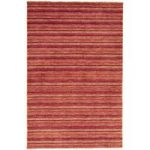Sassari Red, Pink Modern Stripe Wool Rug
