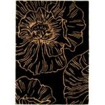 Salerno Black & Gold Floral Wool & Viscose Rug