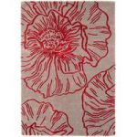Salerno Natural & Red Floral Wool, Viscose Rug