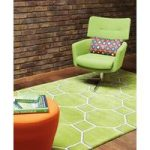 Salerno Green Trellis Wool, Viscose Modern Rug