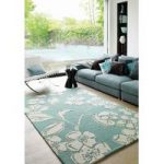 Salerno Blue Floral Modern Wool, Viscose Rug