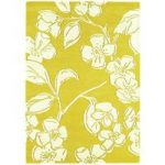 Salerno Yellow Floral Modern Wool, Viscose Rug