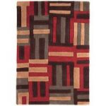 Salerno Terracotta & Orange Modern Wool, Viscose Rug