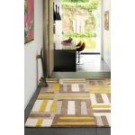 Salerno Yellow & Grey Modern Wool, Viscose Rug