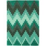 Salerno Teal Blue Chevron Wool, Viscose Rug
