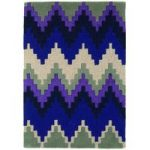Salerno Purple Chevron Wool, Viscose Modern Rug