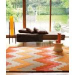 Salerno Orange, Pink Wool, Viscose Modern Rug