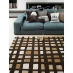 Salerno Brown Wool, Viscose Geometric Rug