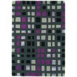 Salerno Grey, Pink Wool & Viscose Geometric Rug