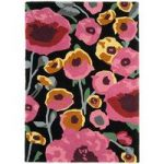 Salerno Black & Pink Floral Wool & Viscose Rug
