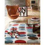 Salerno Red & Teal Pebbles Wool, Viscose Rug