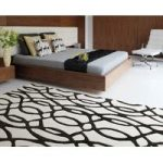 Salerno Black & White Trellis Wool, Viscose Rug