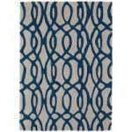 Salerno Cream & Blue Trellis Wool, Viscose Rug