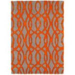 Salerno Cream & Orange Trellis Wool, Viscose Rug