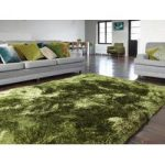 Oriel Gloss Green Circle Modern Shaggy Rug