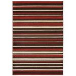 Kampala Red Brown Stripe Modern Rug