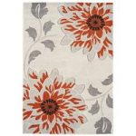 Kampala Orange & Grey Flower Modern Rug