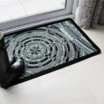 Grey and Teal Swirl Circular Pattern Non Slip Rubber Doormat Panama