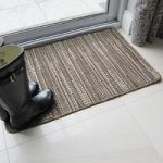 Natural & Black modern stripe Stitch design non-slip rubber doormat