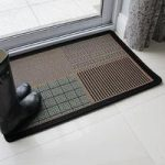 Black, Green & Orange Large Check Design non slip rubber mat panama