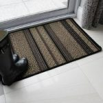 Black, Brown & Gold Stitched Stripe Design Non Slip Rubber Doormat